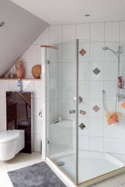 Dusche und WC vor der Renovierung